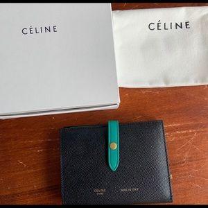 Celine Grained Calfskin Medium Strap Wallet